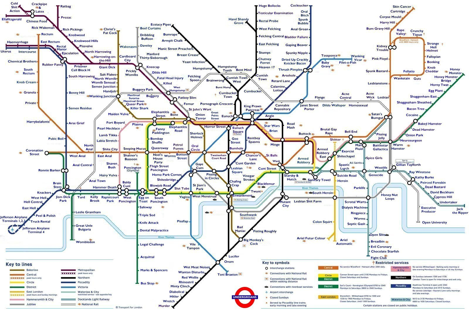 Try Not To Be Offended By This Extremely Rude Tube Map Secret London - Check off map